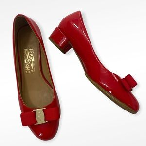 Ferragamo Red Patent Leather Vera Bow Pumps 7D
